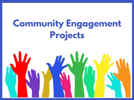 Image of many hands representing community engagement